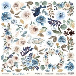 Лист односторонней бумаги для вырезания 30x30 от Scrapmir Цветы из коллекции Blue & Blush 10шт