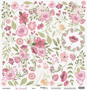 Лист односторонней бумаги для вырезания 30x30 от Scrapmir Цветы из коллекции So Loved 10шт