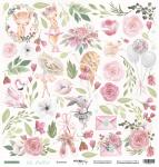 Лист односторонней бумаги для вырезания 30x30 от Scrapmir Цветы из коллекции Oh, Ballet 10шт