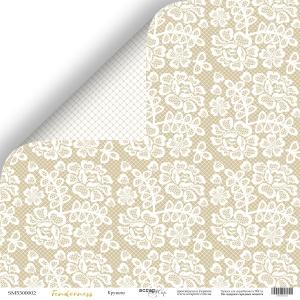 Лист двусторонней бумаги 30x30 от Scrapmir Кружево из коллекции Tenderness 10шт