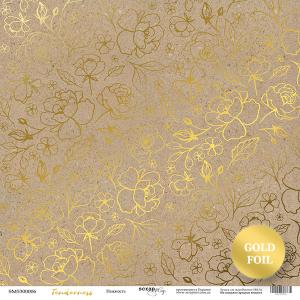 Лист односторонней бумаги с золотым тиснением 30x30 от Scrapmir Крафт из коллекции Tenderness 10шт.