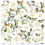 Лист односторонней бумаги для вырезания 30x30 от Scrapmir Цветы из коллекции Tenderness 10шт