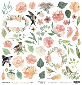 Лист односторонней бумаги для вырезания 30x30 от Scrapmir Цветы из коллекции Peaches & Cream 10шт