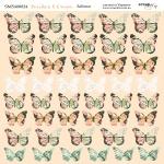 Лист двусторонней бумаги 20х20см Бабочки Peaches & Cream от Scrapmir 10шт