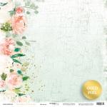 Лист односторонней бумаги с золотым тиснением 30x30 от Scrapmir Цветение из коллекции Peaches & Cream 10шт.