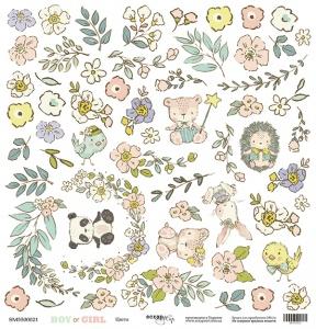 Лист односторонней бумаги для вырезания 30x30 от Scrapmir Цветы из коллекции Boy or Girl 10шт