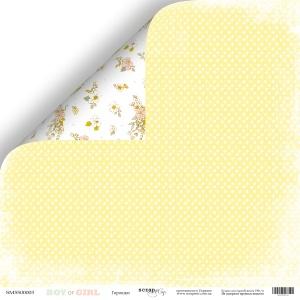 Лист двусторонней бумаги 30x30 от Scrapmir Горошки из коллекции Boy or Girl 10шт