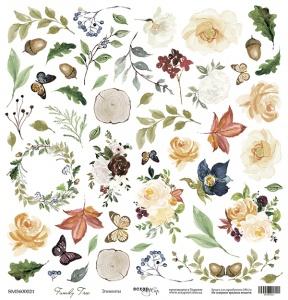 Лист односторонней бумаги для вырезания 30x30 от Scrapmir Элементы из коллекции Family Tree 10шт