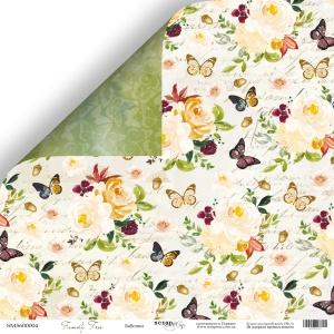 Лист двусторонней бумаги 30x30 от Scrapmir Бабочки из коллекции Family Tree 10шт