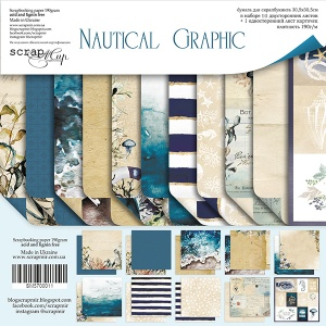 Набор двусторонней бумаги 30х30см от Scrapmir Nautical Graphic 11шт