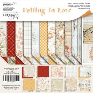 Набор двусторонней бумаги 20х20см от Scrapmir Falling in Love 11шт