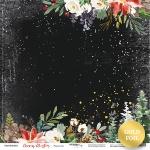 Лист односторонней бумаги с золотым тиснением 30x30 от Scrapmir Рождество из коллекции Merry Christmas 10шт.