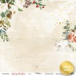 Лист односторонней бумаги с золотым тиснением 30x30 от Scrapmir Север из коллекции Merry Christmas 10шт.