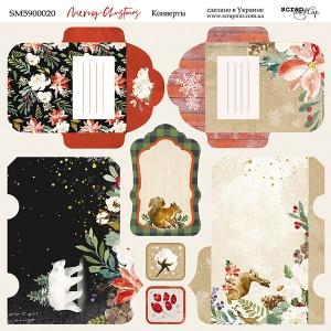 Лист двусторонней бумаги 20х20см Конверты Merry Christmas от Scrapmir 10шт