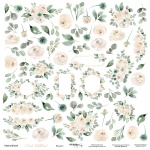 Лист Двусторонней бумаги 30x30 от Scrapmir Цветочки из коллекции Pink Childhood 10шт