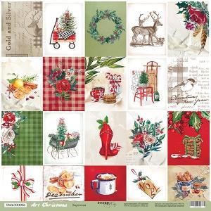Лист односторонней бумаги 30x30 от Scrapmir Карточки из коллекции Art Christmas 10шт