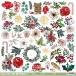 Лист односторонней бумаги 30x30 от Scrapmir Декор из коллекции Art Christmas 10шт