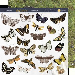 Лист двусторонней бумаги 20х20см Бабочки Herbarium Wild summer от Scrapmir 10шт