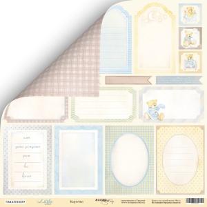 Лист двусторонней бумаги 30x30 от Scrapmir Карточки из коллекции Little Bear 10шт